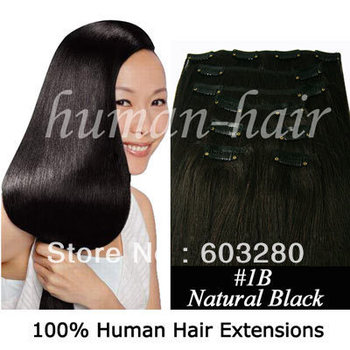 """15""""18""""20""""22""""24"""" Remy Clips in Brazilian human hair #1B natural black color 70gram/80gram/100gram containing 7pieces/pack"""