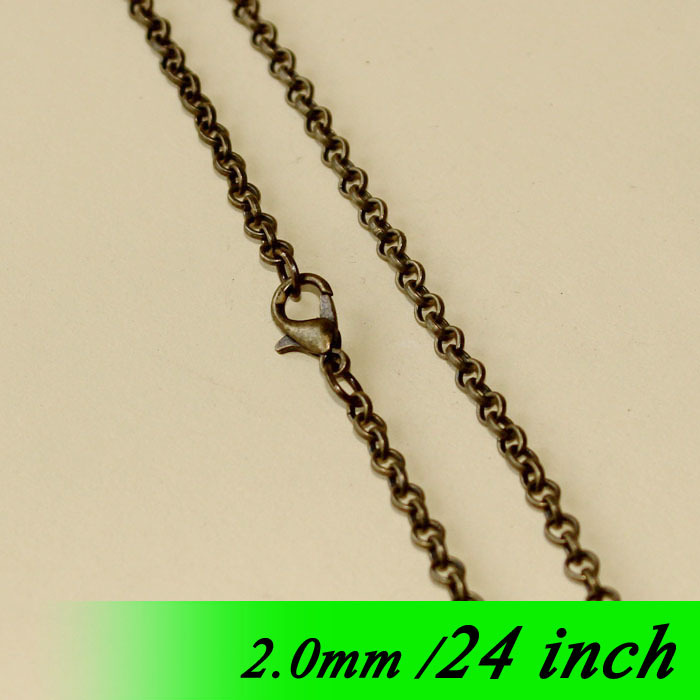 "diy 24"" For Pendants With Lobster Clasps Findings Bronze Tone Fashion Jewellery Links 2mm Circle Rolo Metal Necklace Chains Bulk(China (Mainland))"