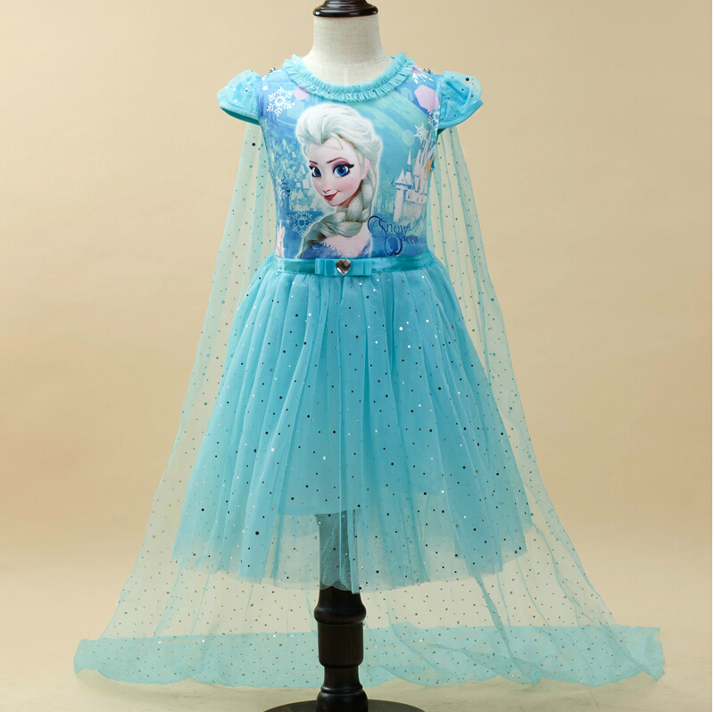 On sale !! Girls Elsa & Anna Children Clothing Princess Dresses Sequined Costume Baby Girl Party Dress + Cape Cotton(China (Mainland))