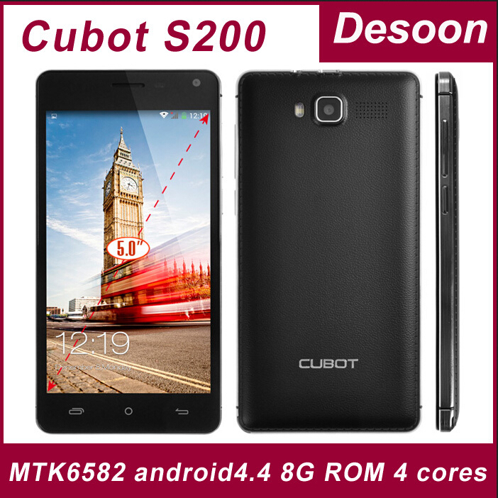 3gifts)Original Cubot S200 Quad core MTK6582 cell phones android 4.4 phone 5.0' IPS 1280*720 1G+8G 3300mah OTG Google Play(China (Mainland))