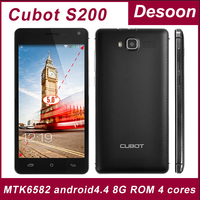 3gifts)Original Cubot S200 Quad core MTK6582 cell phones android 4.4 phone 5.0' IPS 1280*720 1G+8G 3300mah OTG Google Play
