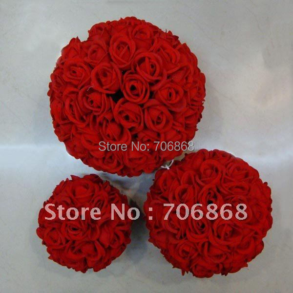 Free shipping 30cm*10 pcs Rose kissing ball artificial silk flower wedding decoration red color(China (Mainland))
