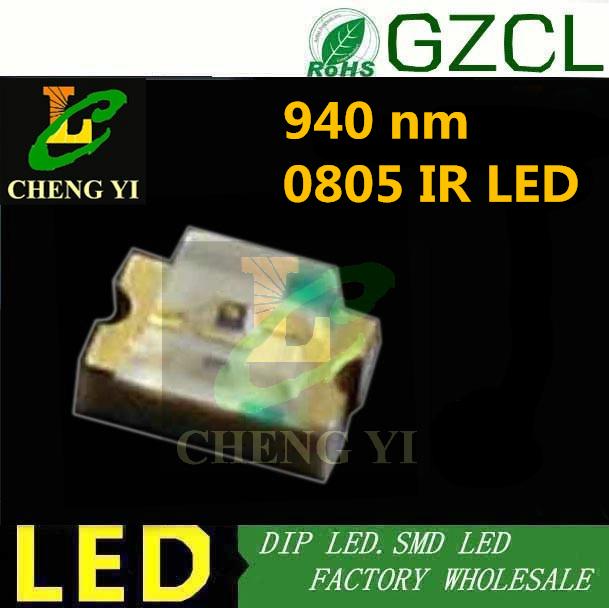 Free shipping 0805 SMD IR LED 940nm Infrared led 1.0-1.5V Remote control led diode 0805 IR sensor(China (Mainland))