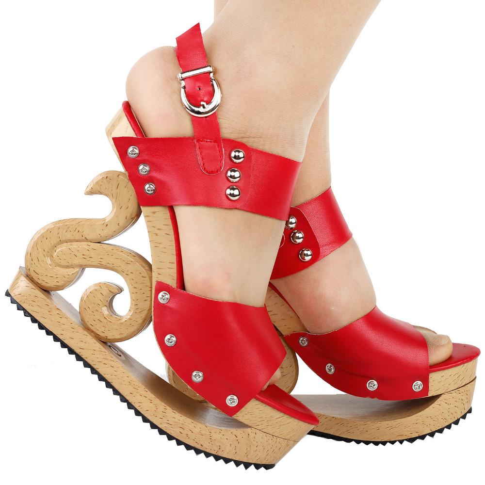 ซื้อ LF30831สีดำ/สีแดง/สีขาวสตั๊ดลิ่มแพลตฟอร์มSlingbackอีฟอุดตันรองเท้าแตะขนาด4/5/6/7/8/9