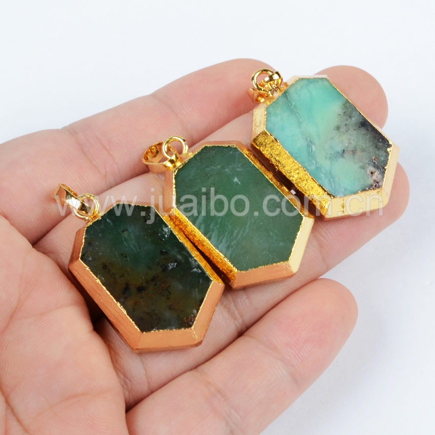 Wholesale Price Gold Plated Heptagon Faceted Natural Australia Jade Pendant Bead Druzy Jewelry For Women G0641<br><br>Aliexpress