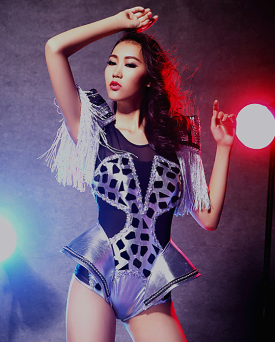 Female singer ds combination silver japanned leather black lens costume singer dancer performance nightclub bar stars stage(China (Mainland))