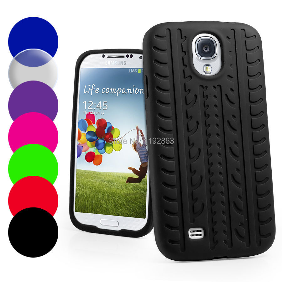Black Tire Tread Silicone Rubber Skin phone Case Cover for Samsung Galaxy S4 SIV i9500(China (Mainland))