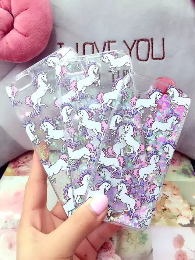 Bling Glitter Unicorn Dynamic Water Liquid white Horse Cartoon Case Plastic Hard Cover For Apple iphone 5 5s(China (Mainland))