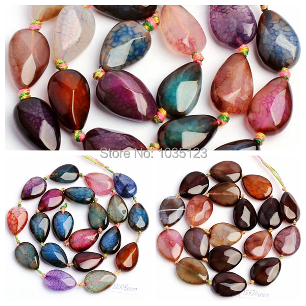 """Free Shipping 10x15,13x18,15x20mm Faceted Cracked Multicolor Agate Drop Shape DIY Loose Beads Strand 15"""" Jewellery Making wj32(China (Mainland))"""