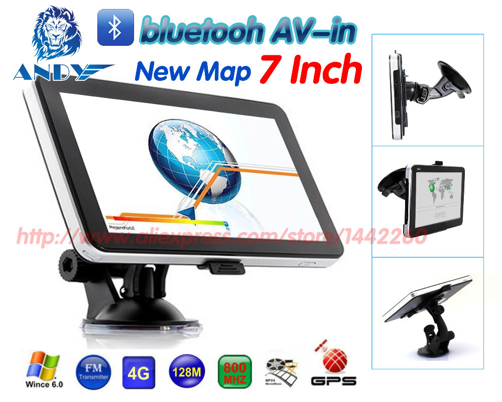 Best Quality 7 inch wince6.0 GPS Navigation 128MB 4G. CPU 800MHZ bluetooth AV-in FMT Russia Europe USA world maps free shipping(China (Mainland))