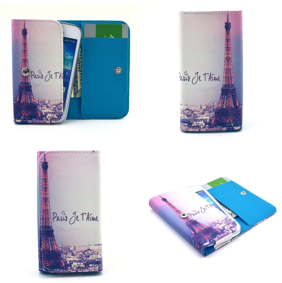 Folio PU Leather case - GT003 / Eiffel + Paris je t'aime - for BQ Aquaris E5 / E5 HD / E5 FHD Wallet Cover(China (Mainland))