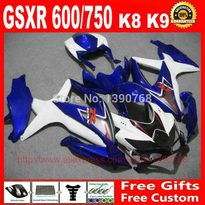 Customize Fairing kit for Suzuki 08 09 10 GSXR 600 750 K8 GSXR600 GSXR750 2008 2009 2010 blue white black fairings set BM56(China (Mainland))