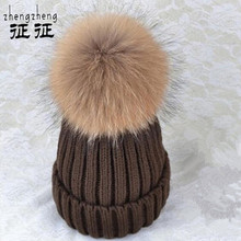 mink and fox fur pom poms winter hat for women girl 's wool hatknitted cotton beanies cap brand new thick female cap(China (Mainland))