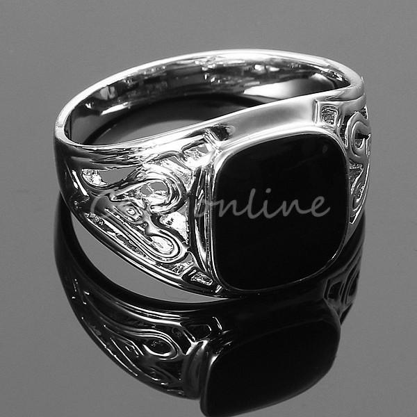 Best Promotion Noble Fashion Men Black Square Onyx Silver Stainless Steel Fancy Finger Ring Punk Jewelry Party Wholesale Price(China (Mainland))