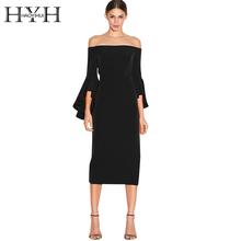 HYH HAOYIHUI 2017 Brand New Autumn Fashion Women Backless Strapless Ruffles Sleeve Back Zipper Off Shoulder Slim Elegant Dress(China (Mainland))