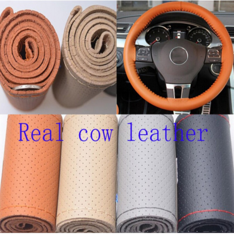 Real Genuine Leather unviersal Steering Wheel Cover decorative new year gift Free shipping 38cm(China (Mainland))
