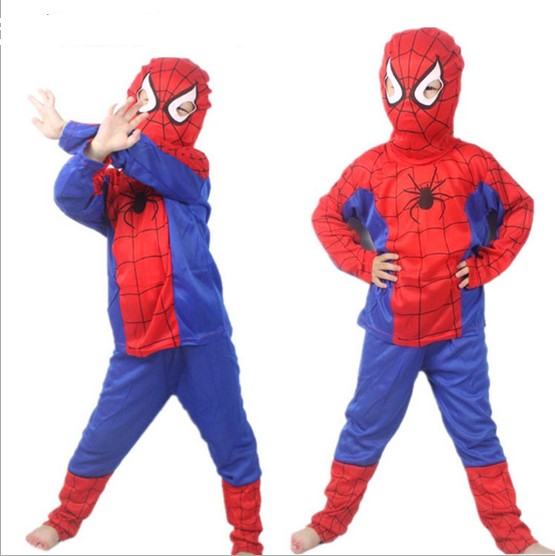 New 2015 Spider Man Children Clothing Sets Fashion Spiderman Party Cosplay Costume Kids Pajama Sets Long