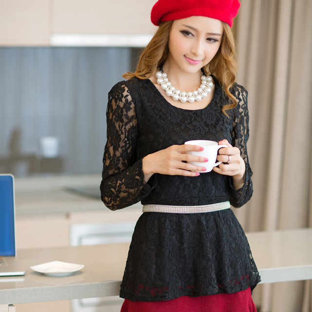 2013 autumn women's blouse long-sleeve shirt slim lace top basic shirt  free shipping