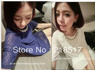 Free Shipping 2013 New Spring and Summer Fashion Women sweet short-sleeve ostrich grain neckline with diamond short dress D-340(China (Mainland))