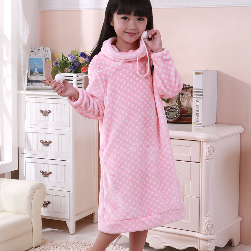 Flannel Large Kids Dongkuan thick coral velvet girl nightgown / tracksuit WA79(China (Mainland))