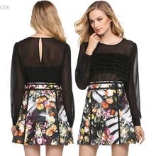 Fashion Vintage Women's Retro Floral Embroidery High Waist A-line Mini Skirt XS-XL