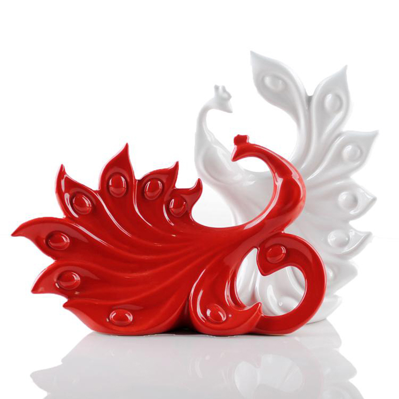 Modern fashion home furnishings and crafts a lovely ceramic couple white red peacock wedding gifts(China (Mainland))