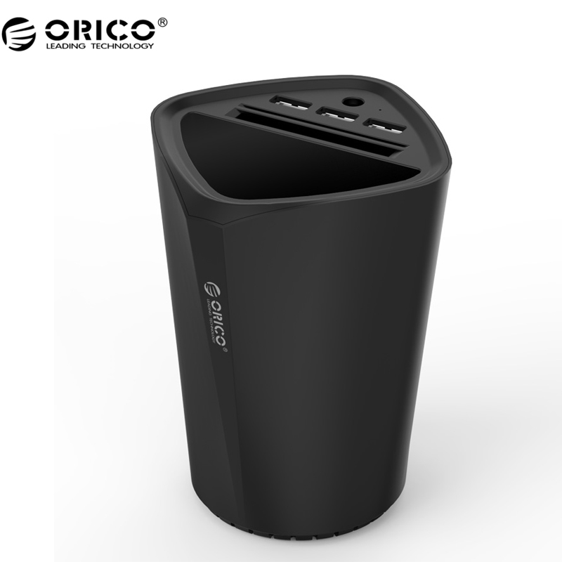 ORICO With Intelligent Charging IC Cup Design 3 Port USB Car Charger For Pad/Phone - Black (UCH-C3-BK)(China (Mainland))