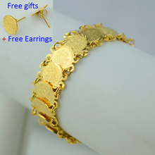 Islam ancient coin gold bracelet 18K yellow gold plated link chain for women,Wholesale arab middle east jewelry african item