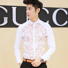 Sexy Men's See Through Lace Shirt Slim Fit Long Sleeve Party Elegant Dress Casual Shirts Fashion Brand Camisas Blue/White/Black(China (Mainland))