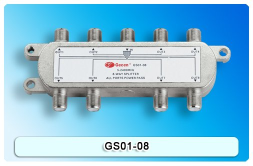 Satellite Splitter, 8 way splitter, catv splitter, GS01-08, 5-2400Mhz antenna splitter, RF Signal Combiner(China (Mainland))