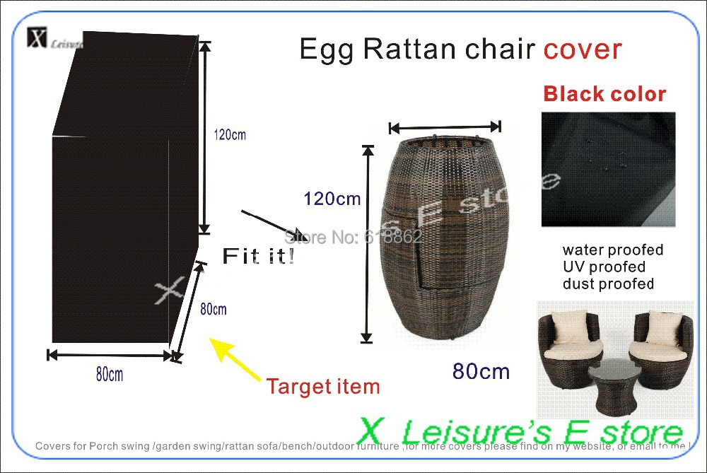 Free shipping,Furniture cover ,Egg rattan chair cover, H120xW90xL90cm ,Black color(China (Mainland))
