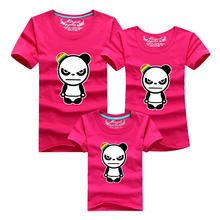 1 pc 95% Cotton 18 Colors Family Set T Shirts Matching Family Clothes Men Women Kids Large T-Shirt Men 4xl Angry Panda Shirts