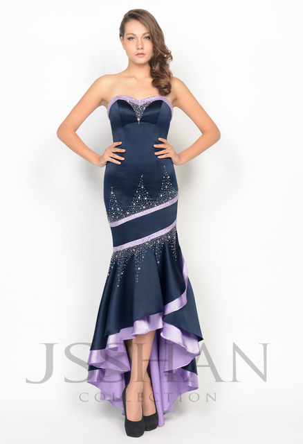 11P012 Strapless Beading Matte Satin Asymmetrical Tiered Prom Elegant Gorgeous Luxury Evening Dress Evening Party Dress