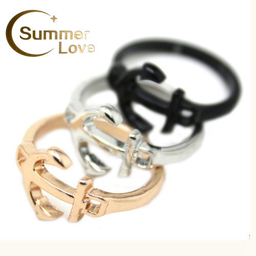Lovely Little Anchor Rings For Women Gold/Silver/Black Fahion Finger Ring Anchor Anel Jewelry Bague Bijouterie Anillos R115