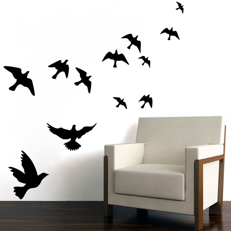 A Group Of Twelve Doves Wall Decal Vinyl Removable DIY Home Decor Flying Birds Wall Sticker Creative(China (Mainland))