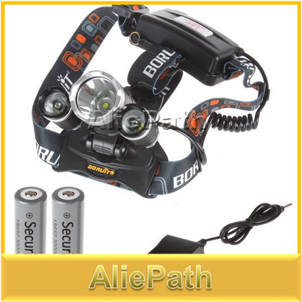 5000 Lumen 3x CREE XM-L T6 4 Modes Rechargeable Led Headlamp Head Lamps Led Headlight Light With Rechargeable 18650 Batteries(China (Mainland))