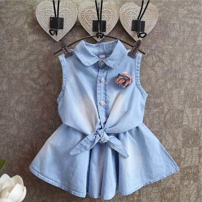 Raffreddare baby girl denim camicetta e gonna set estate dei bambini di strada casuale 2 pz vestiti stabiliti dei capretti tessuti di cotone vestiti(China (Mainland))