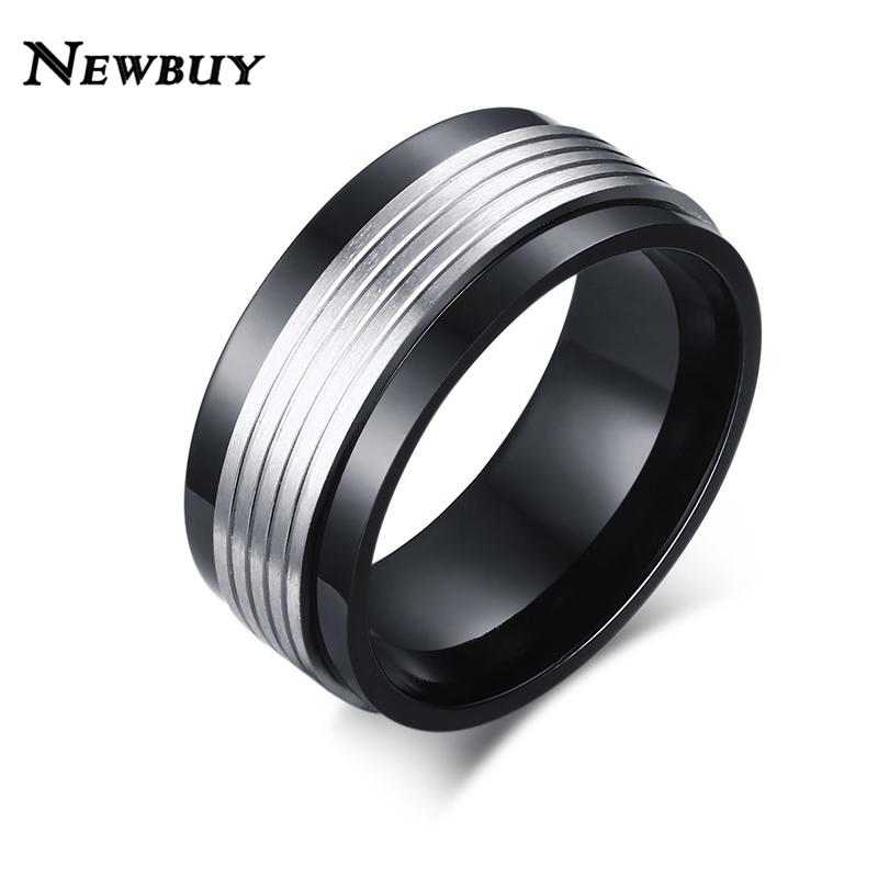 newbuy brand hot selling cool black men wedding ring punk style men engagement ring fashion silver - Cheap Men Wedding Rings