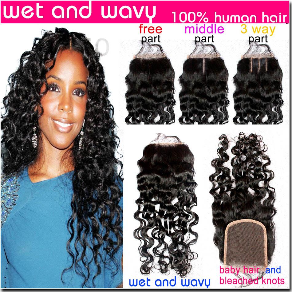 Гаджет  4X4 Virgin Brazilian Water Wave Closure Bleached Knots 7A Hair Middle/Free/3 Part Brazilian Lace Closure Wet And Wavy Closure None Волосы и аксессуары