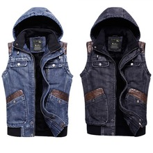 Brand Men Winter Casual Hooded Vest Thicken Plus Velvet Jeans Waistcoat Spring Comfortable Sleeveless Jacket Asia/Tag Size L-2XL(China (Mainland))