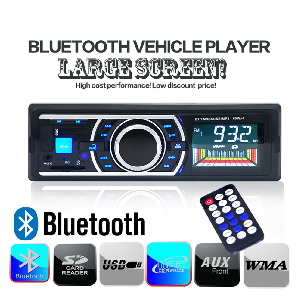 12V Bluetooth Car Radio Car Stereo AUX-IN MP3 Audio Player USB/SD/ In-Dash 1 DIN Car Electronics Subwoofer+ Remote For Iphone(China (Mainland))