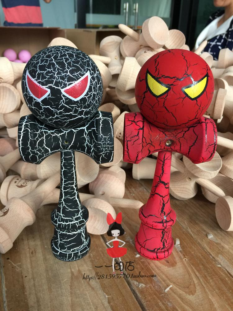 Spider-Man ball kendama Professional game top quality full crack paint beech Wholesale ball skills(China (Mainland))
