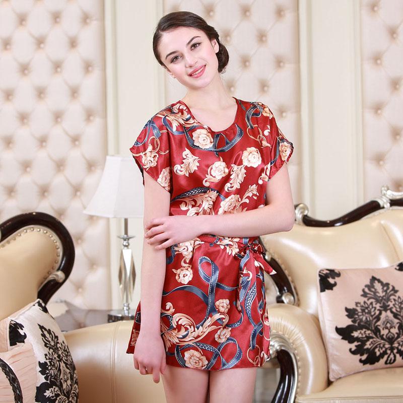Women Flower Sleepshirt Summer Printed Silk Short Sleeve Sleepwear Dress Women Floral Night Gown Sleep Wear Nightgown Dresses(China (Mainland))