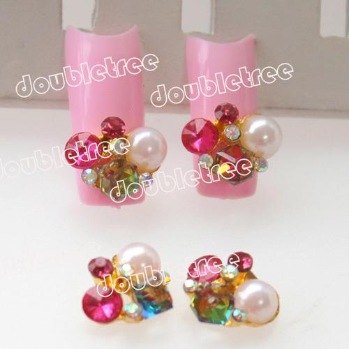 10pcs Gold Alloy 3D Nail Art Decorations Glitter Rose Red AB Rhinestones And White Pearls Nails Supplies Nail Tips Free Shipping(China (Mainland))