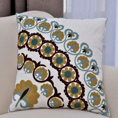Free shipping ethnic style Sofa Cover Flowers embroidered Decorative Cushion Covers high-grade cozy Cushions Home Decor