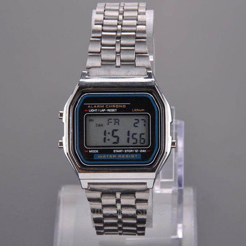 Retro Womens Men Stainless Steel LED Digital Alarm Clock Stopwatch Men s Wrist Square Watch