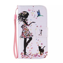 For Samsung galaxy s4 mini I9190 Cat Women Bird Flip Leather Stand Wallet Case Cover With Lanyard Strap