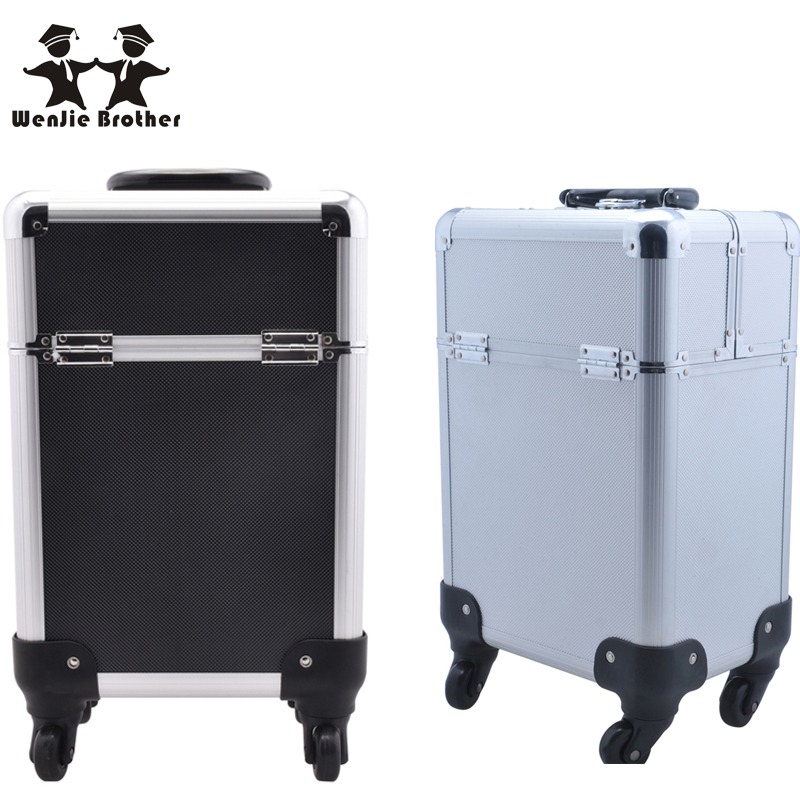 wenjie brother New Arrival Fashion Professional Rolling Makeup Case Multifunctional Trolley Cosmetic Case With 360 Degree Wheel(China (Mainland))