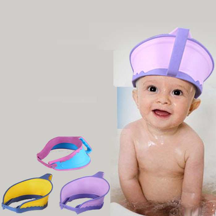 New Kids Bath Visor Hat Adjustable Baby Shower Cap Protect Shampoo Hair Wash Shield for Children Infant Splashguard Waterproof(China (Mainland))