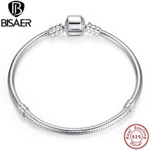 Buy BISAER Authentic 100% 925 Sterling Silver Femme Snake Chain Bead Bracelet & Bangle For Charms Luxury Jewelry Pulseira WEUS902 for $20.89 in AliExpress store